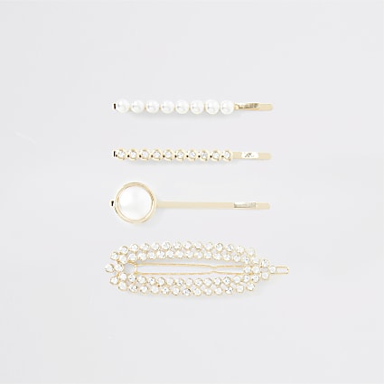 Gold colour pearl hair clip multipack