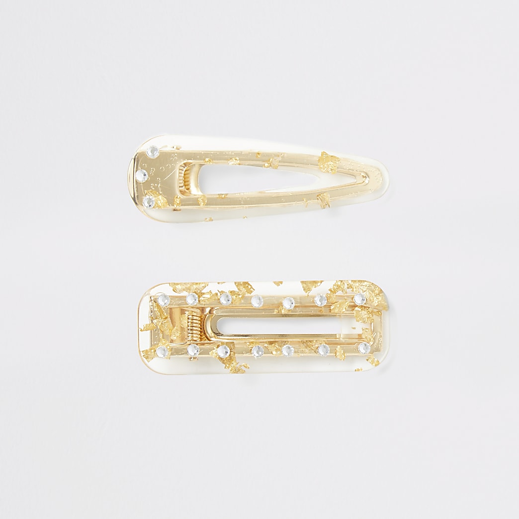 Clear foil and diamante hair clip mulitpack