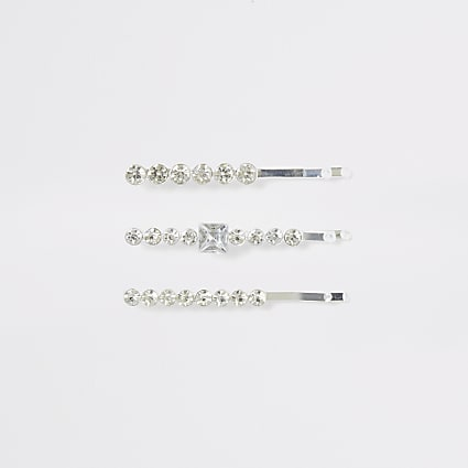 Silver colour diamante bling hair slides