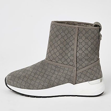 Grey suede RI monogram trainer boots