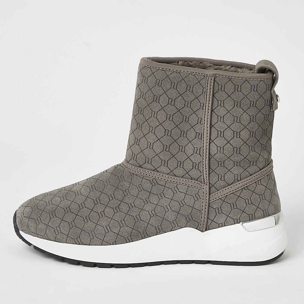 Grijze suède sneaker-laarzen met RI-monogram