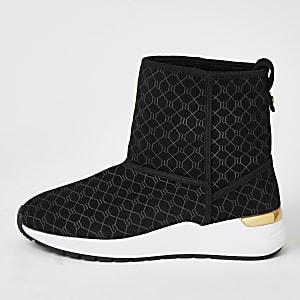 Schwarze, knöchelhöhe Sneaker aus Wildleder mit RI-Monogramm