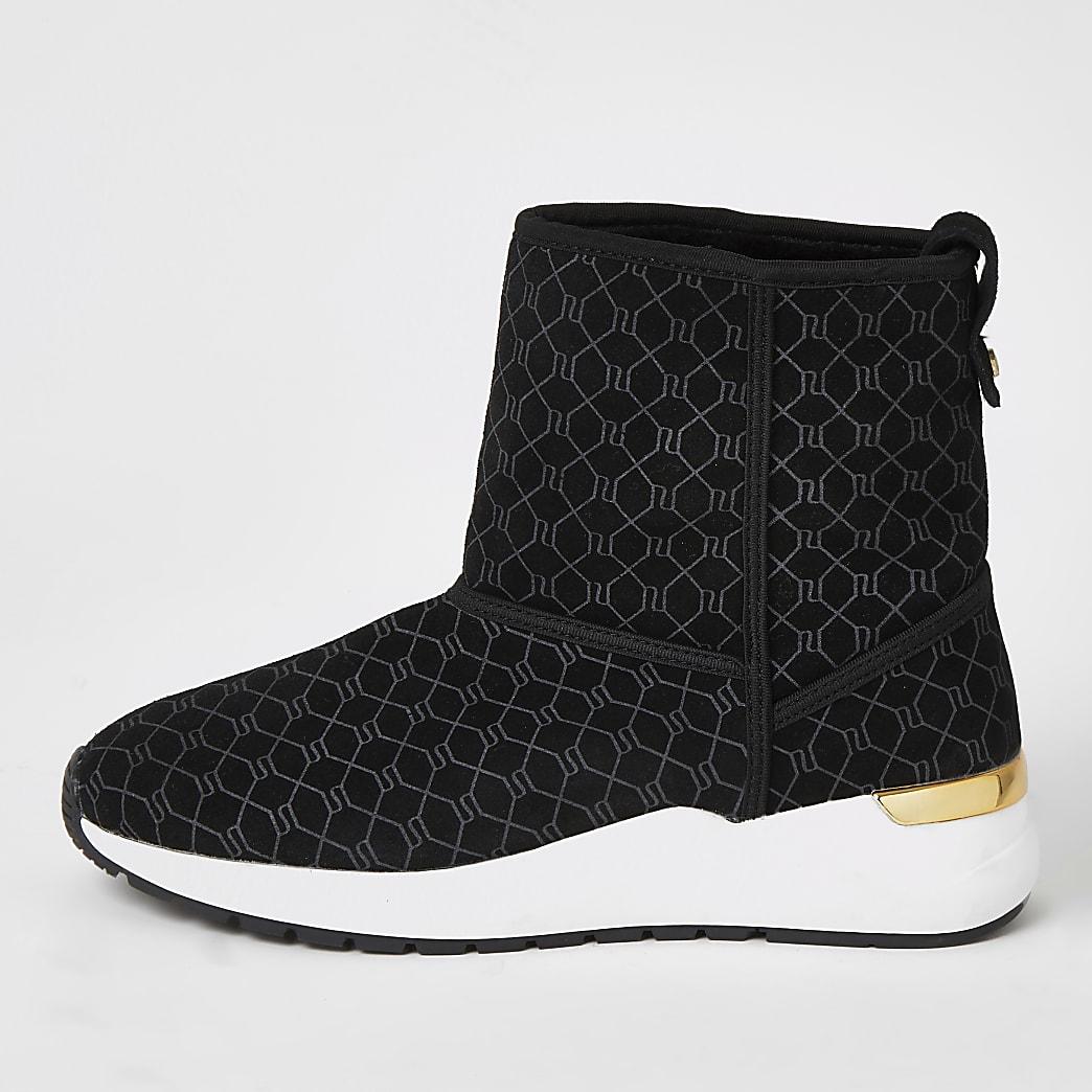 Zwarte suède enkel sneakers met RI-monogram