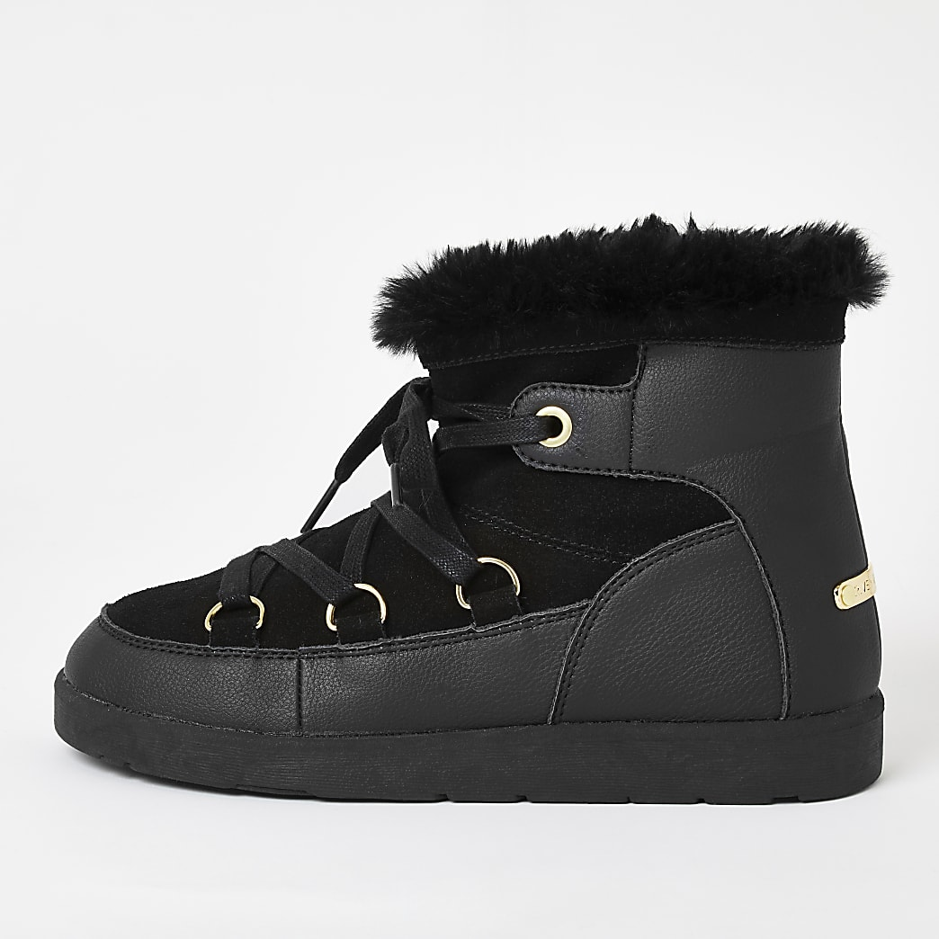 Black suede faux fur lined lace-up boots