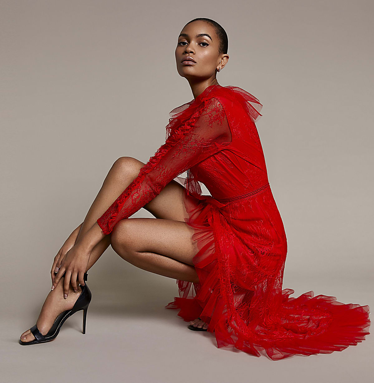 Red lace long sleeve asymmetric hem dress