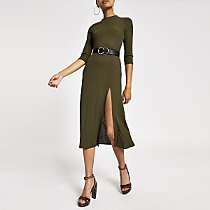 Kaki A-lijn midi-jurk met lange mouwen
