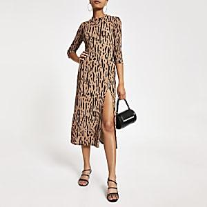 Beige printed A line long sleeve midi dress