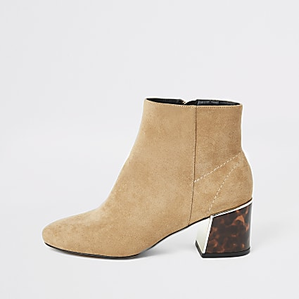 Brown faux suede tortoise shell heeled boots