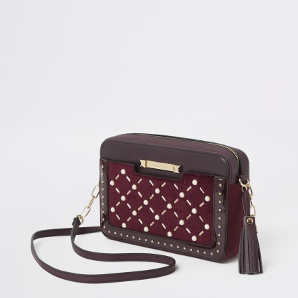 Red velvet pearl studded cross body bag