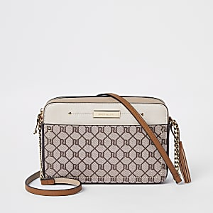Beige RI monogram boxy cross body bag