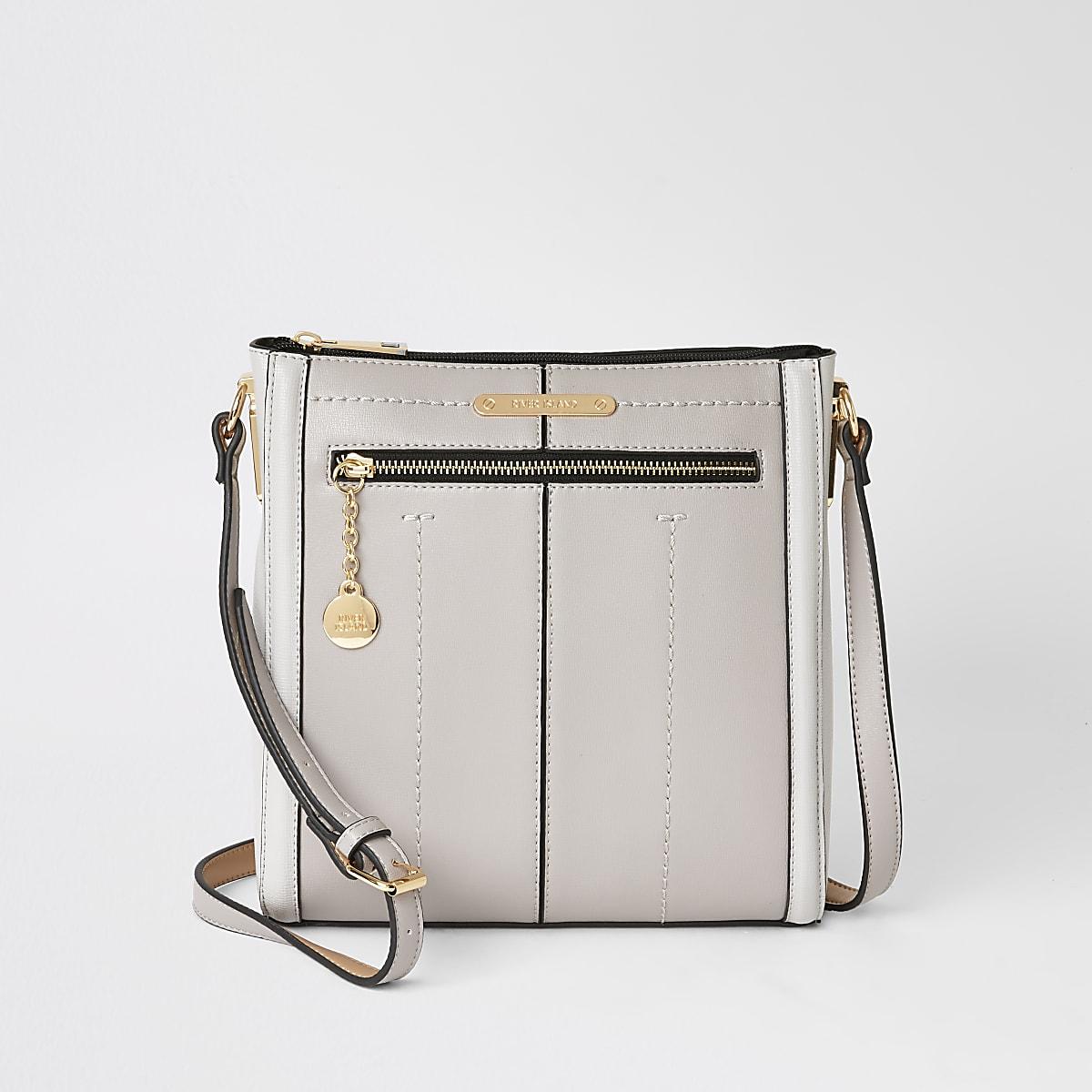 Grey zip front messenger cross body bag