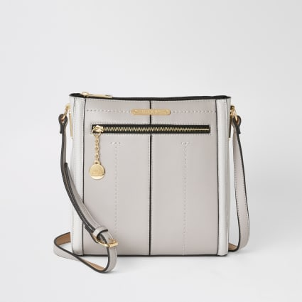 Grey zip front messenger cross body bag