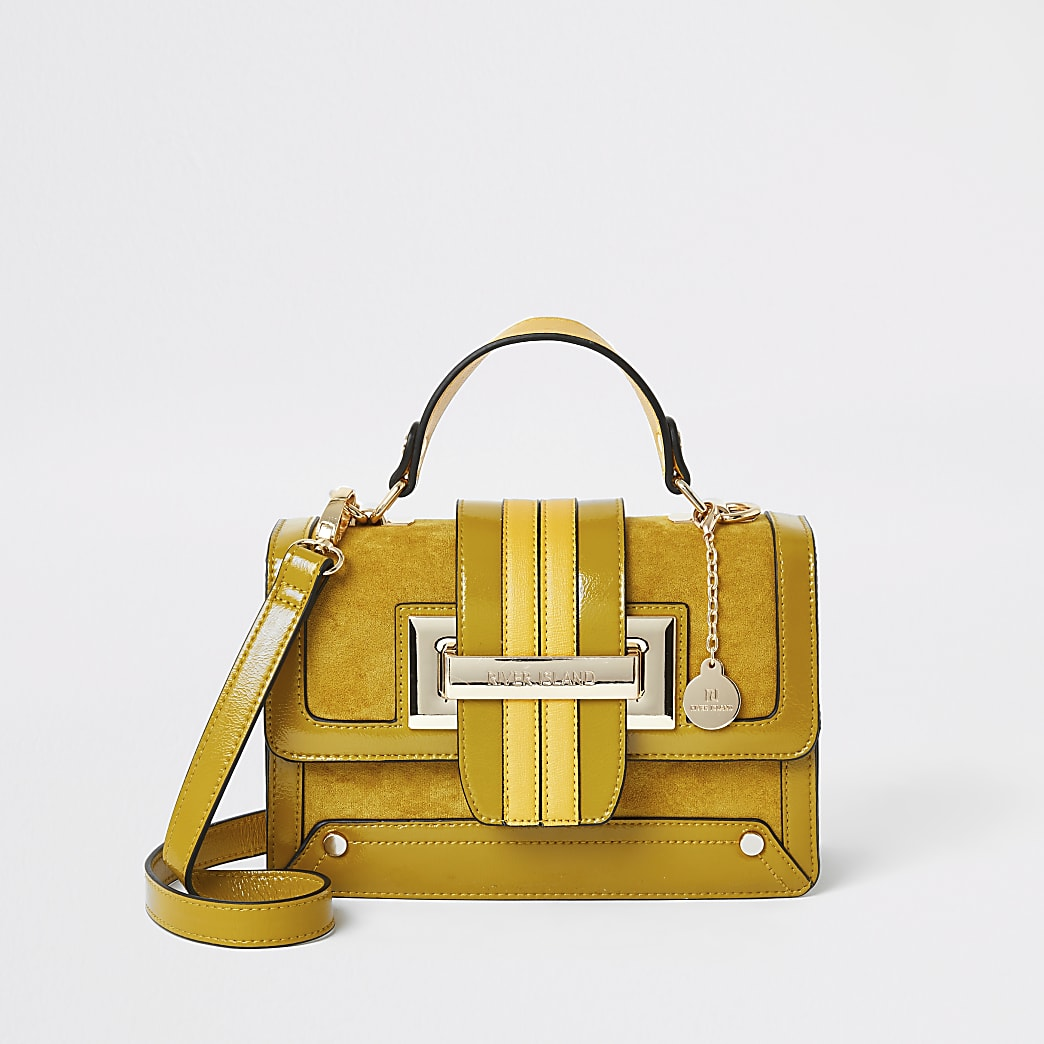 Mustard buckle satchel cross body bag
