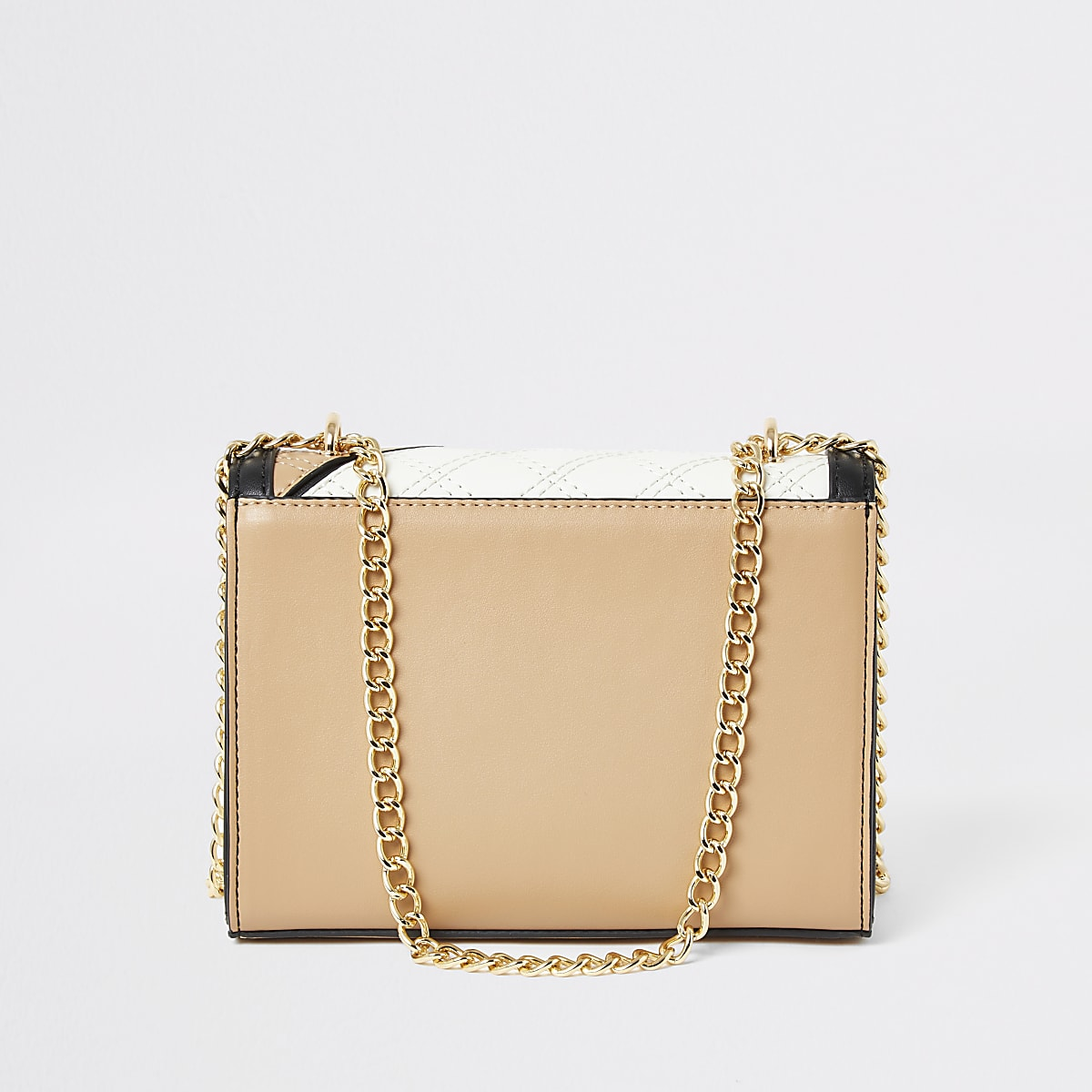 Light Beige And Tan Quilted Cross Body Bag