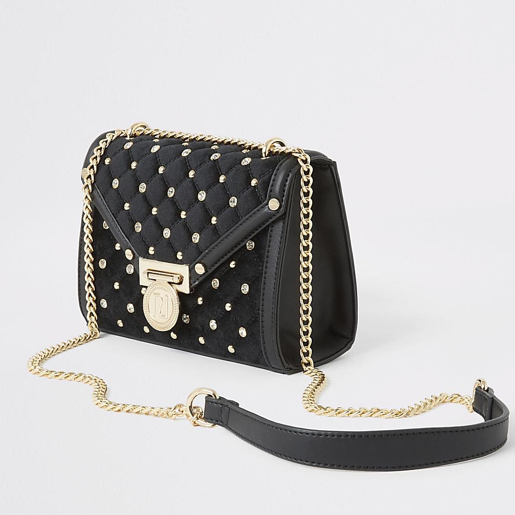 Zwarte gevoerde mini-crossbodytas met studs