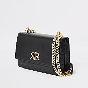 Black RI fold over cross body bag