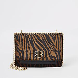Brown tiger print RI cross body bag