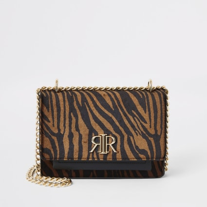 Brown tiger print RI cross body bag