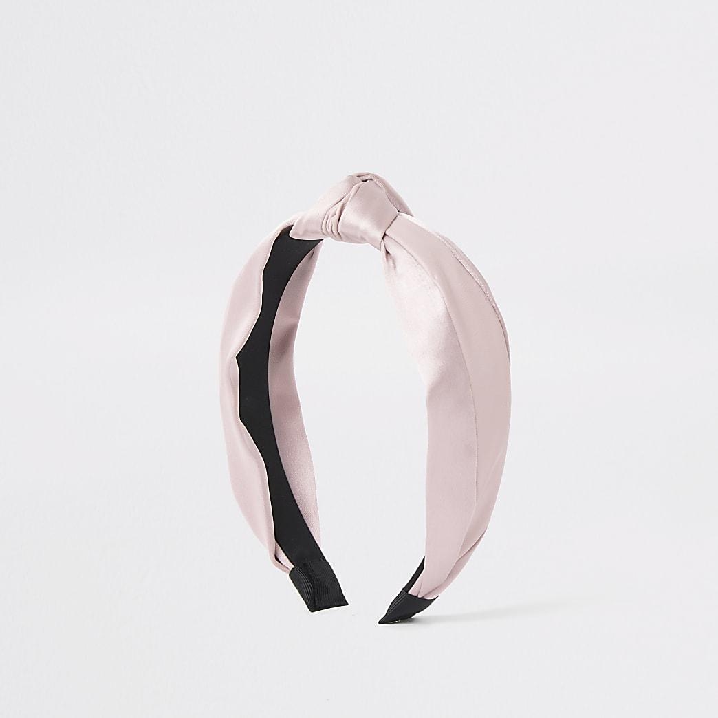 Pink mixed fabric knot headband