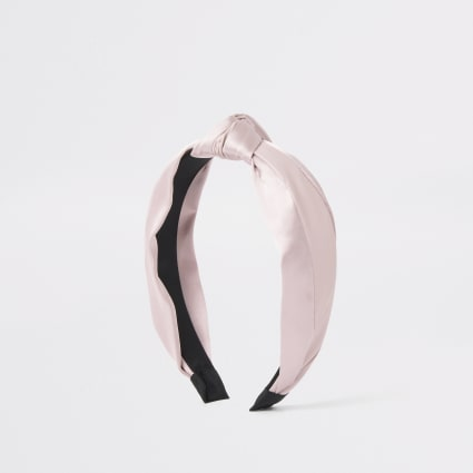Pink mixed fabric knot headband