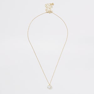 Gold colour diamante stud necklace