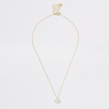 Gold colour diamante stud necklace
