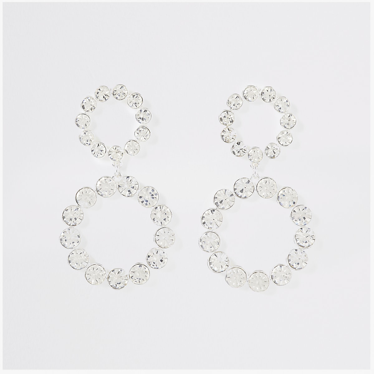 Silver colour double drop earrings