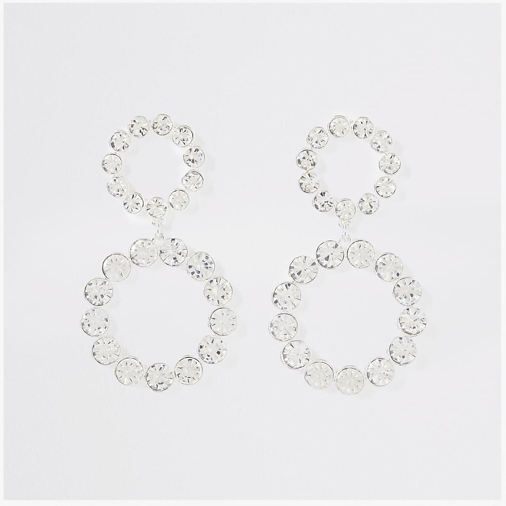 Silver colour double drop earrings
