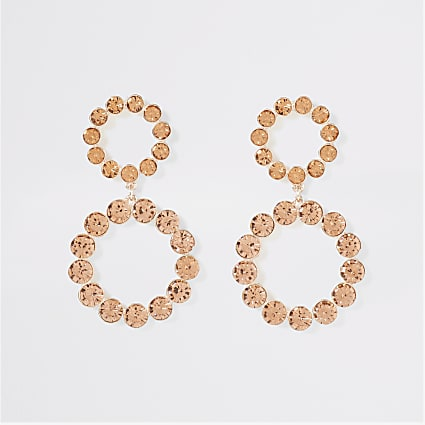 Rose gold colour diamante drop earrings