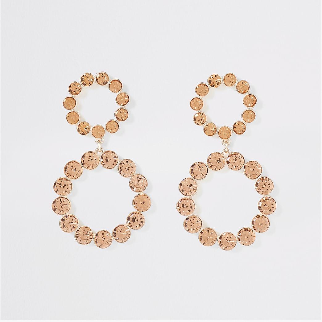 Rose gold colour diamante drop earrings
