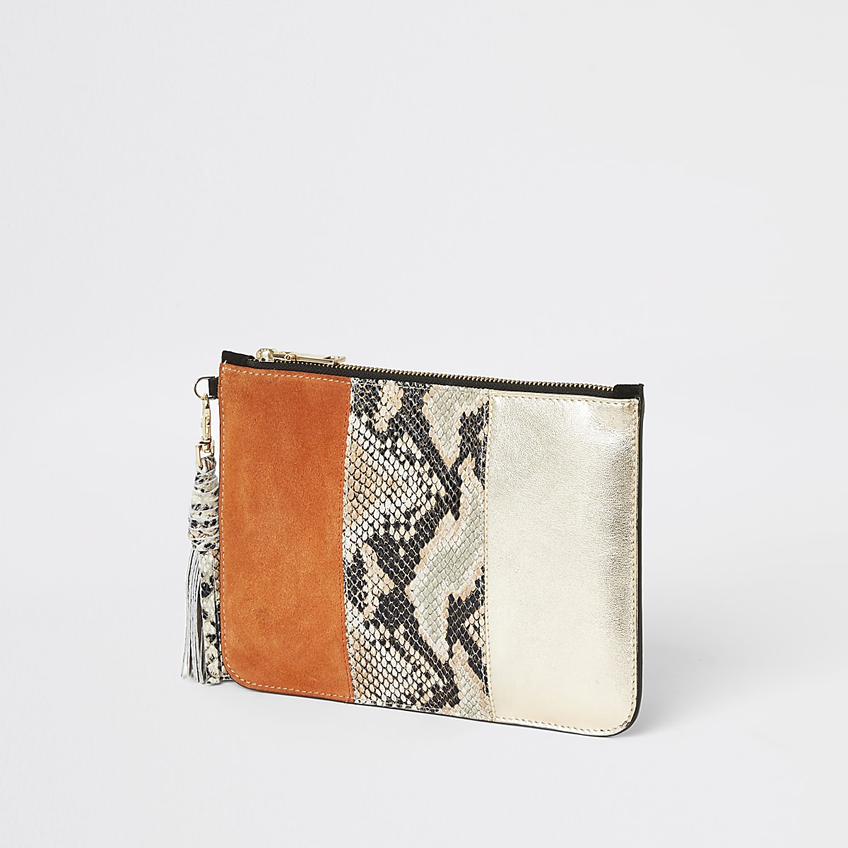 Orange snake print leather pouch clutch bag