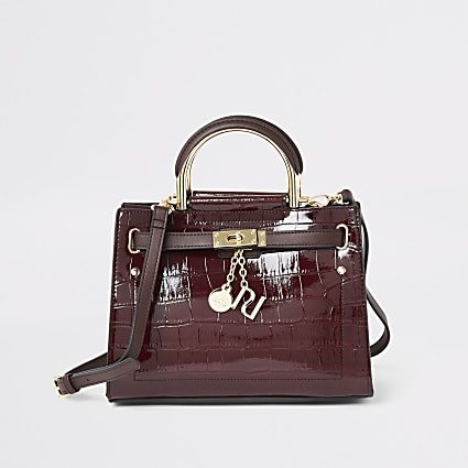 Dark red croc padlock front mini tote bag