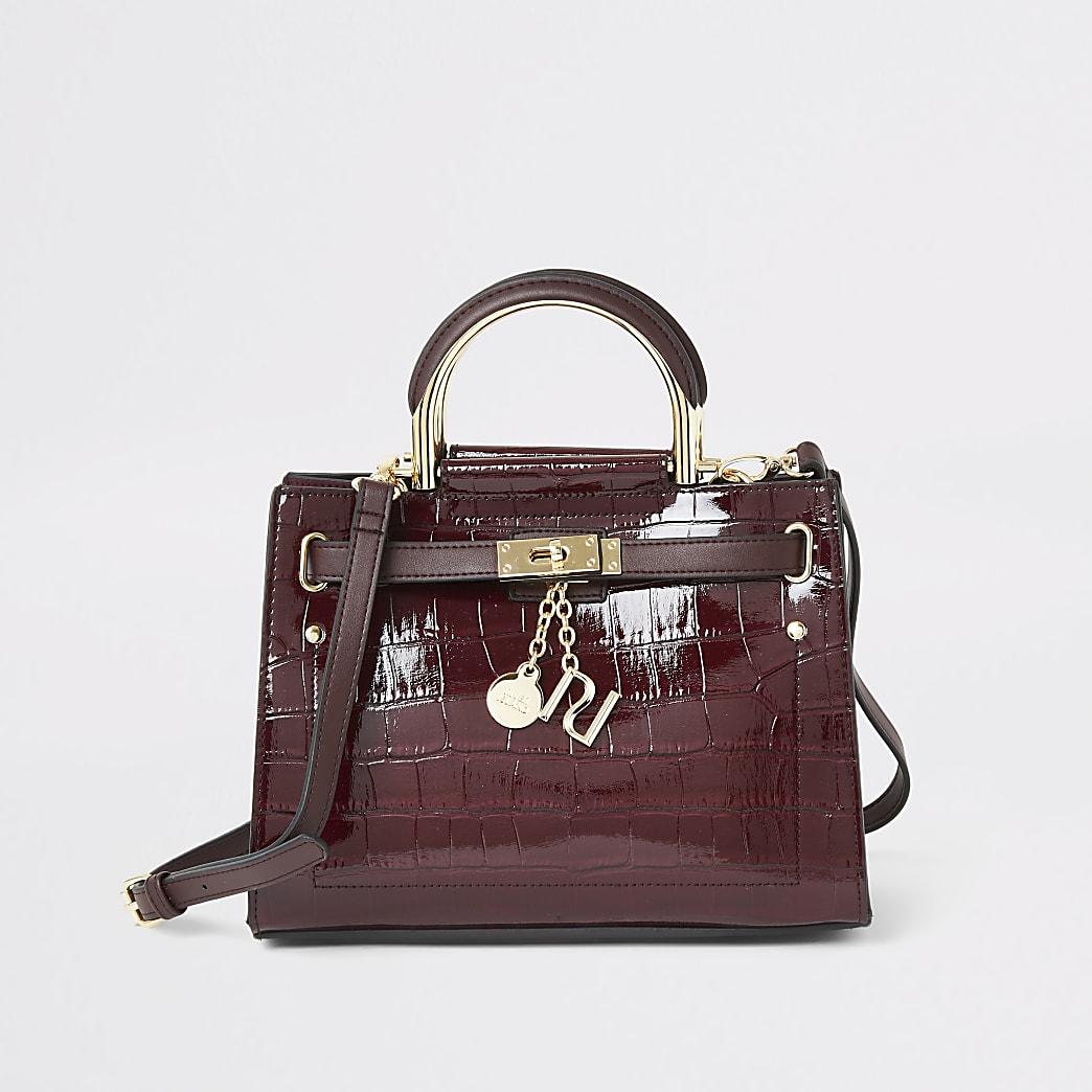 Donkerrode mini-handtas met krokodillenprint en hangslot voor