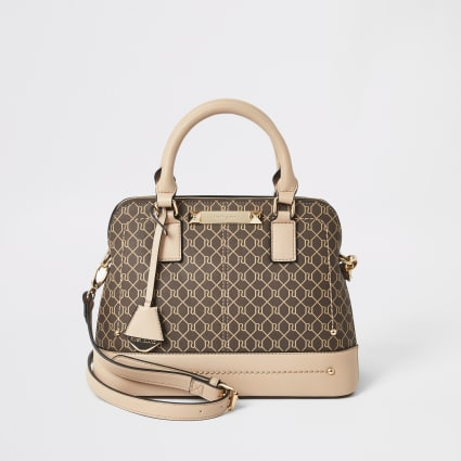 Beige RI monogram tote cross body bag
