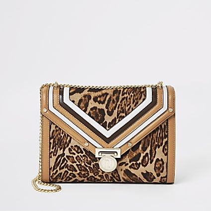 Beige leopard print shoulder bag