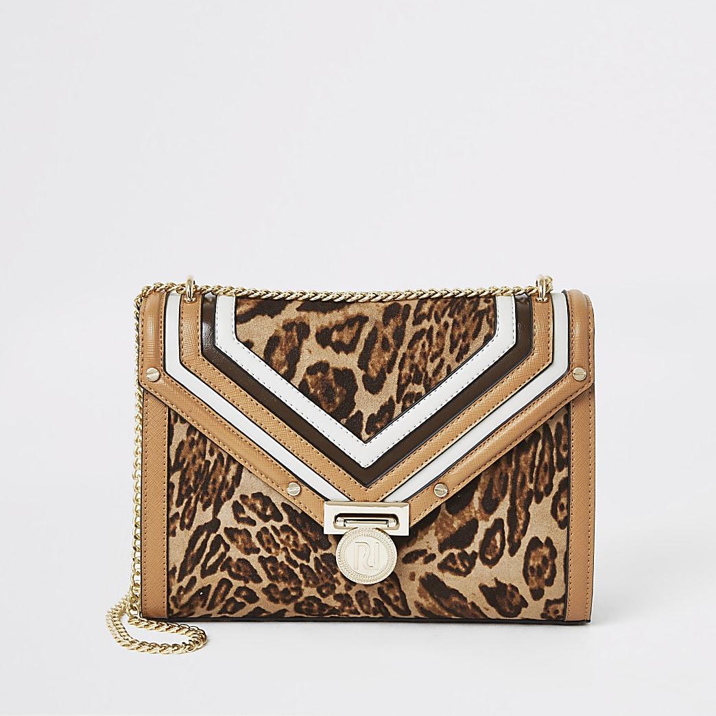 Beige leopard print shoulder bag