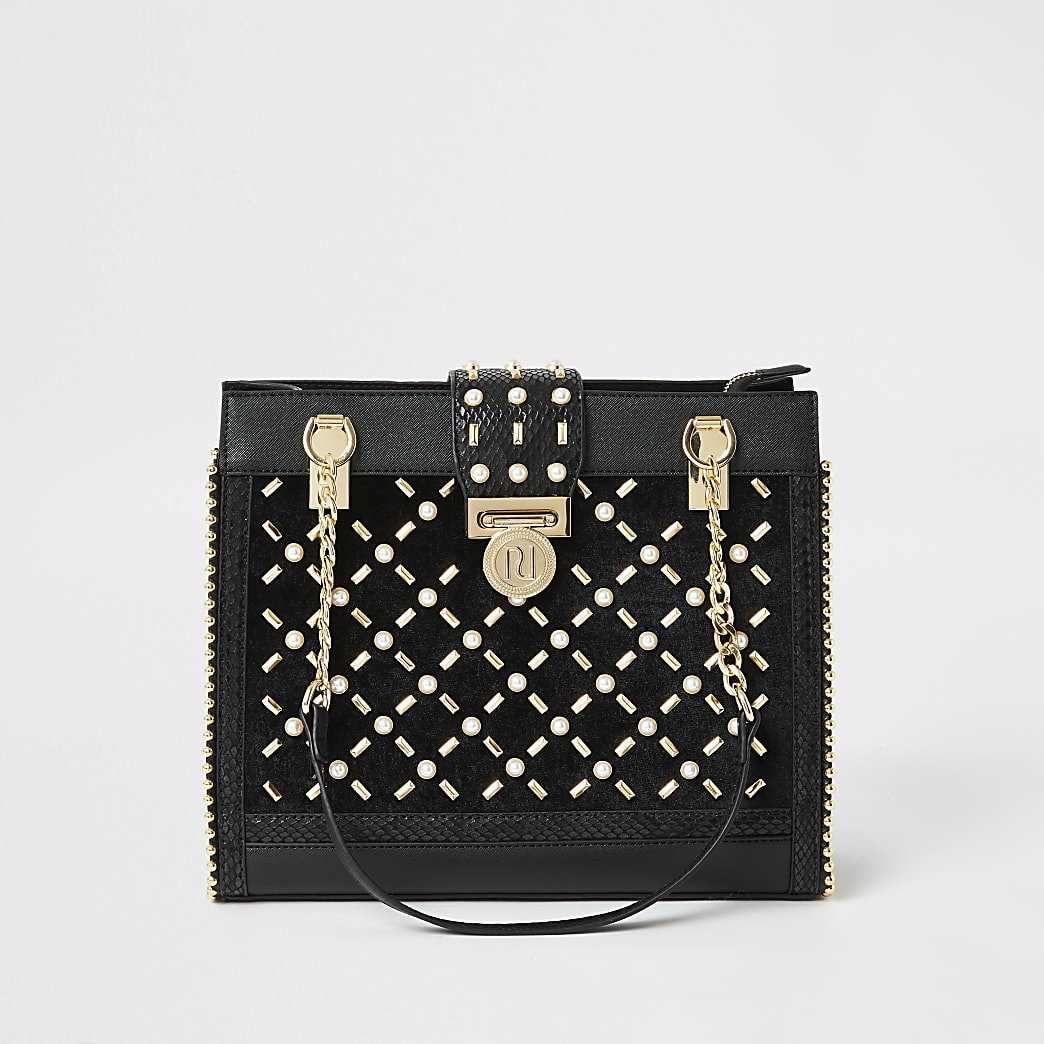 Black pearl studded tote bag