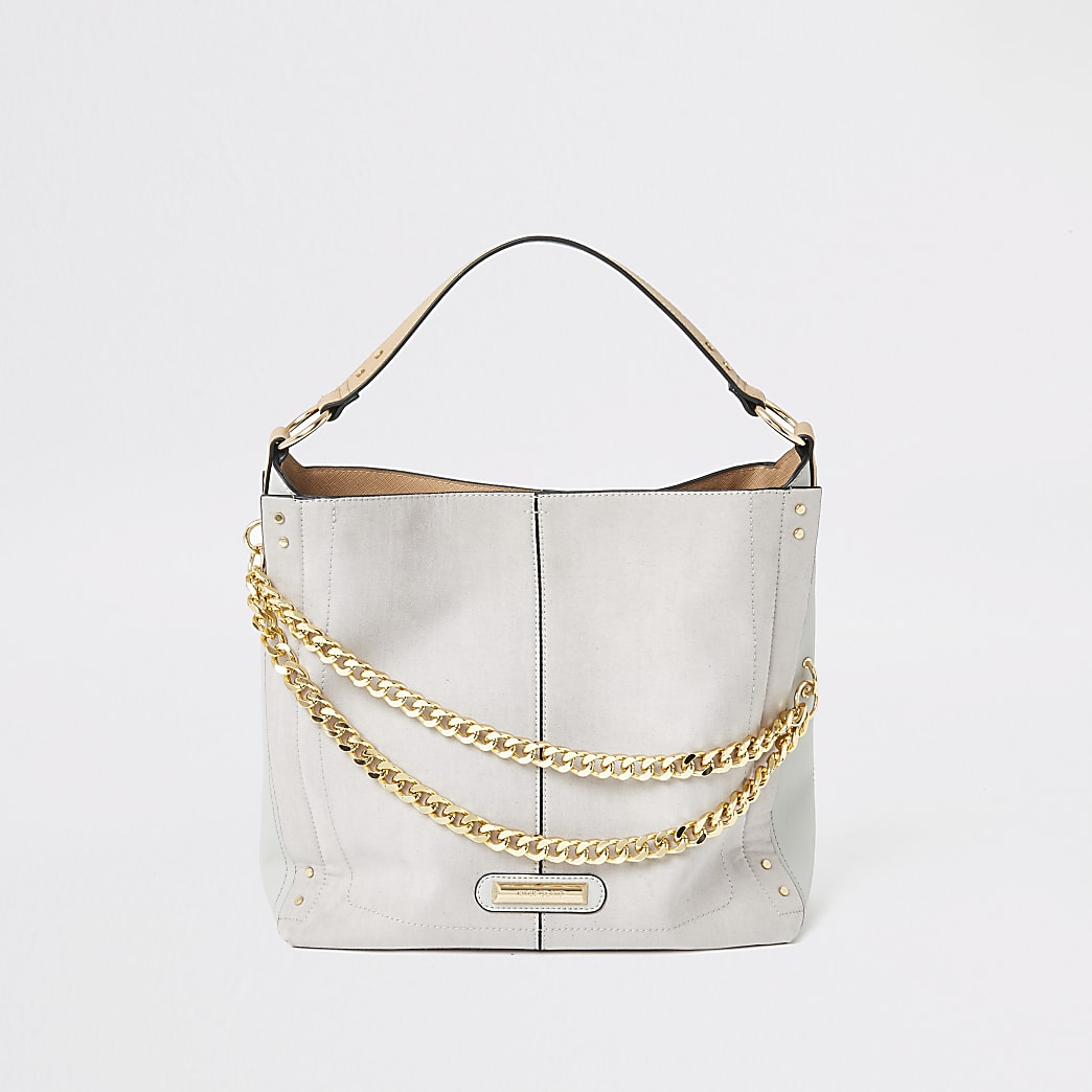 Grey double chain slouch bag