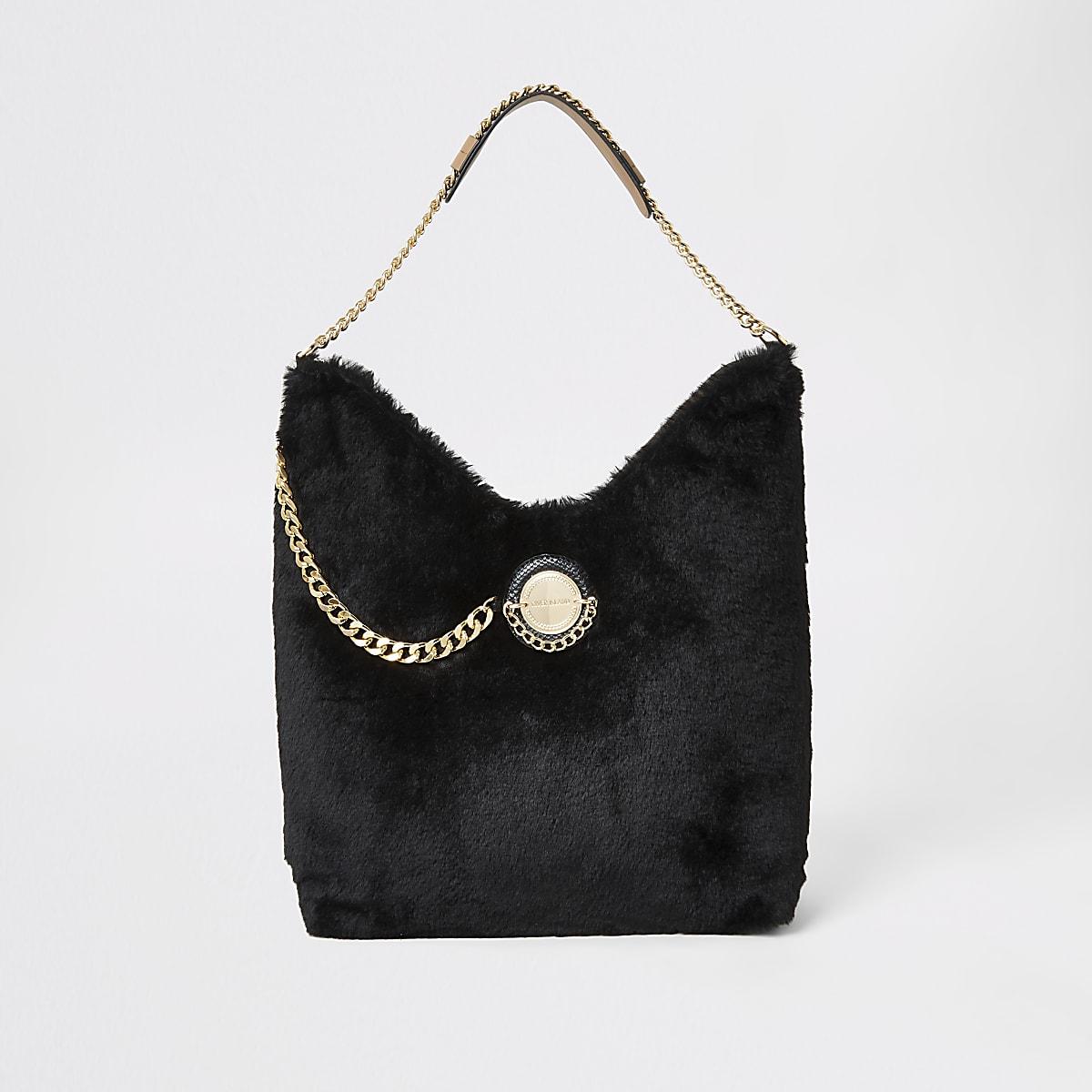 Black faux fur coin front slouch bag
