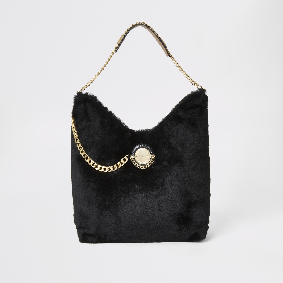 Black faux fur coin front slouch bag
