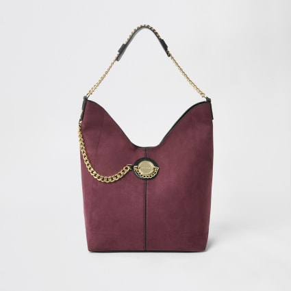 Dark red coin chain slouch shoulder bag