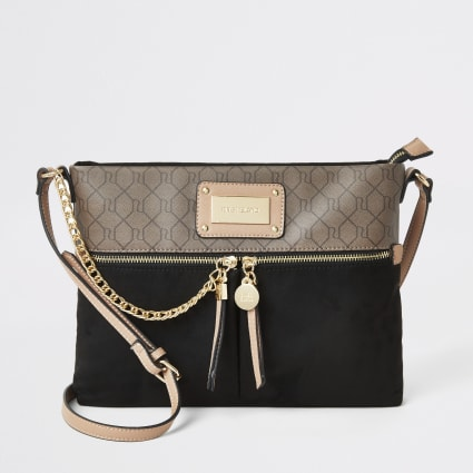 Black RI monogram contrast messenger bag