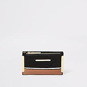 Mini portefeuille à rabat noir imitation daim