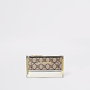 Beige mini uitvouwbare portemonnee met RI-monogram