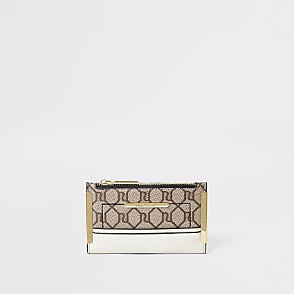 Beige RI monogram mini foldout purse