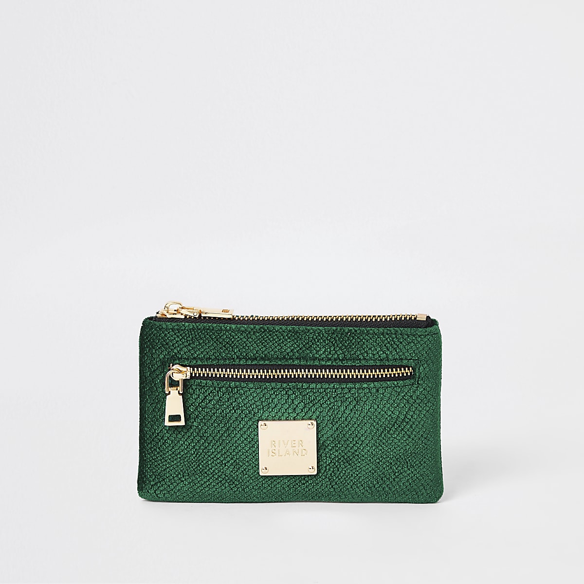 Green velvet embossed mini zip pouch
