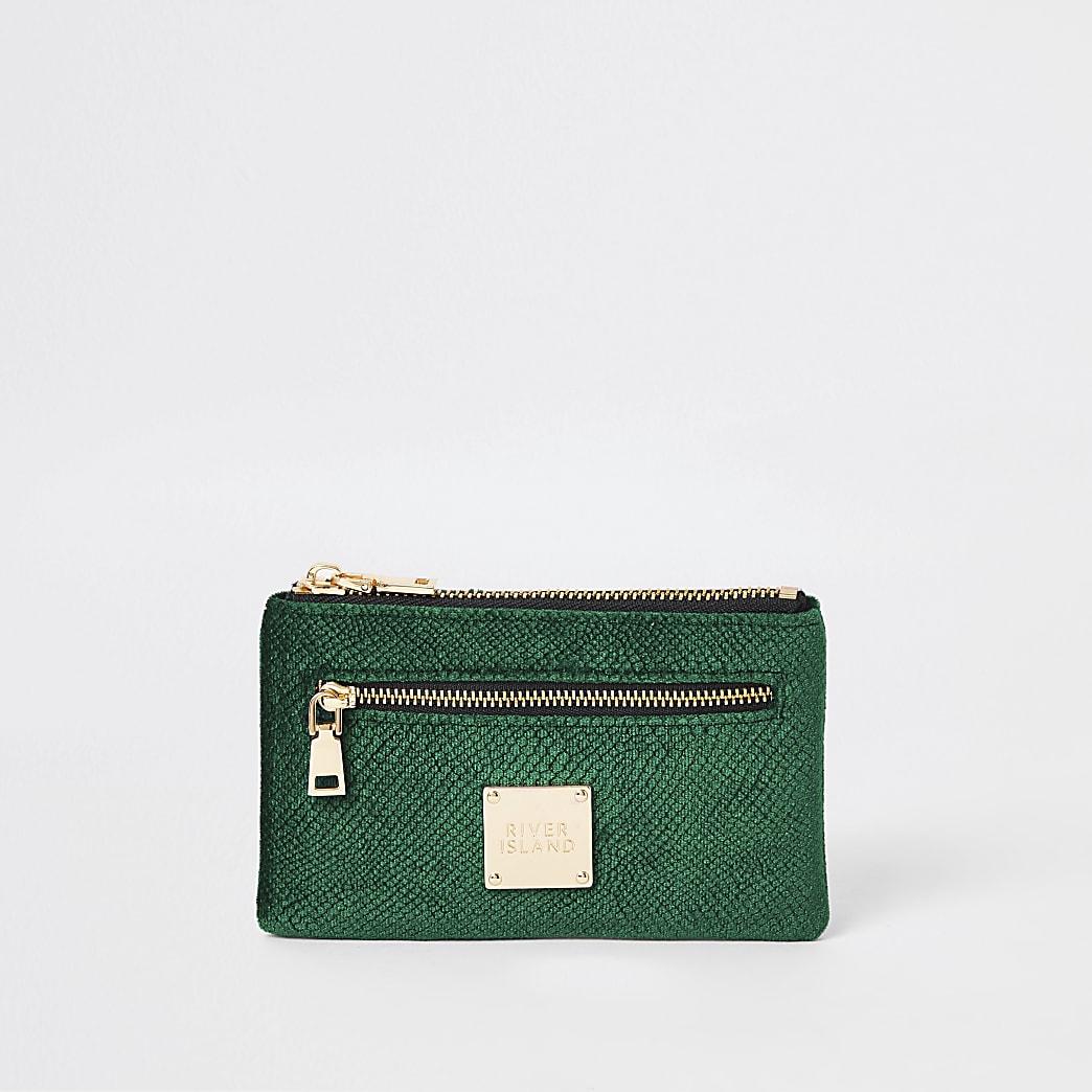 Green velvet embossed mini zip pouch