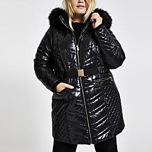 RI Plus - Zwarte gewatteerde jas met hoogglans