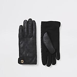 Schwarze Kunstlederhandschuhe mit RI-Prägung