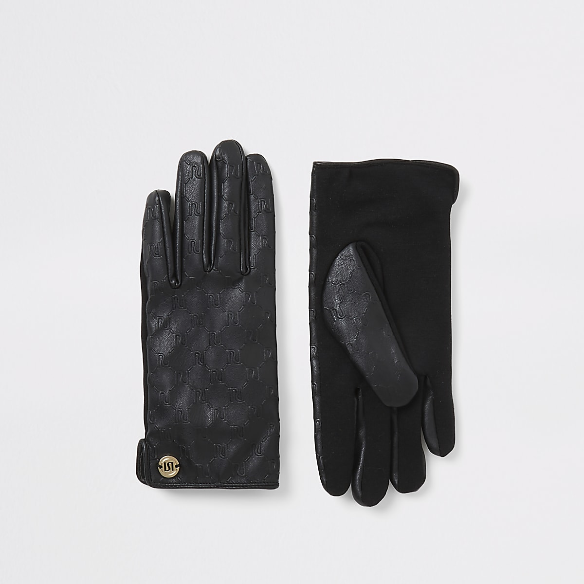 Black RI embossed faux leather gloves
